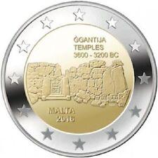 * LOT DE 5 PIECES -- 2 € COMM - UNC - MALTE 2016 - TEMPLES GGANYIJA