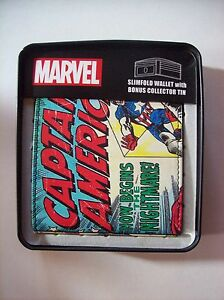 Captain America Slimfold Wallet Mens Marvel Comics Bonus Collector Tin NIB