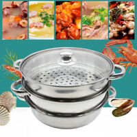 Steamer 3 Tier Set Stainless Steel Cooker Pot Glass Lid Kitchen Cookware 28CM
