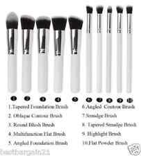10pcs White Silver Kabuki Style Foundation Blusher Face Powder Make up Brush Set