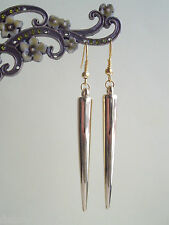 Long Gold Spike Dangly Drop Earrings - Retro Rock Chick
