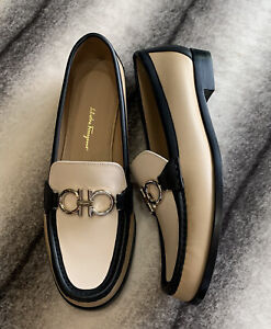 Salvatore Ferragamo Rolo Logo Loafers Multi Almond Nero Bone Womens Size 10.5
