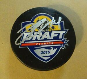 Autographed JOEL ERIKSSON EK Signed 2015 NHL DRAFT Hockey Puck Minnesota Wild