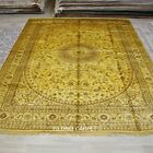 Yilong 9'x12' Oversize Persian Silk Area Rug Handknotted Gold Washed Carpet 1281