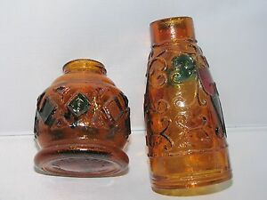 "Vintage brown cathedral glass bottle 7"" decorative lamp candle holder 2-pc set"