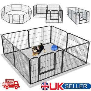 Heavy Duty 8 Panel Puppy Dog Playpen Exercise Pen Cat Fence Whelping Box Black
