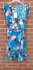 Joe Browns Womens Mock Wrap Dress UK 12 Ladies Blue Floral Sleeveless Dress NWT