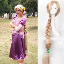 US!120cm Halloween Princess Tangled Rapunzel Long Braid Blonde Cosplay Wig Prop