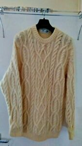 Made by Marks & Spencer - Quality Cream Arran Pure New wool Jumper - Size XL