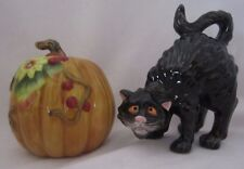 Fitz and & Floyd Halloween Harvest Cat & Pumpkin Salt & Pepper Shakers