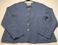 FLAX Womens Button Up Blouse Small S Blue Long Sleeves Side Pockets 100% Linen