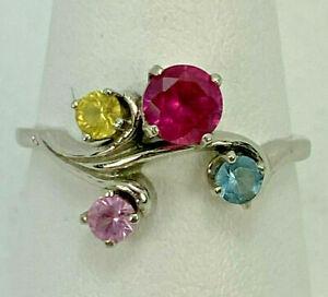 Estate 14k Yellow Gold Multi Gemstone Ring Size 6