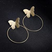 Boucles d'oreilles Doré Ear Jacket Papillon Insecte Gros Cercle Simple AA31
