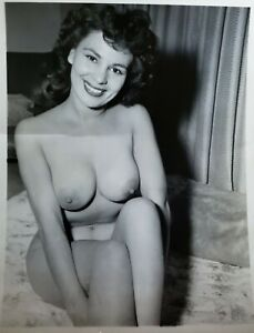 Vintage Silver Gelatin Photo Bettie Page Era Model Perfect Breast Nipples Risque