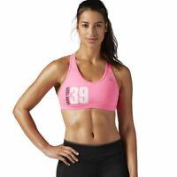 Reebok Womens Avon 39 Workout Ready Sports Bra Pink Crossfit Sz Small