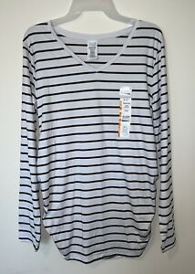 New Time & Tru Maternity Shirt Fitted Black White Striped Long Sleeve M (8-10)