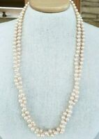 Vtg Fx Glass Pastel Pink Pearl Bead 2 Strand Hand Tied Necklace Silver Tone