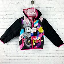 Disney Minnie Mouse Black & White Pink Puffer Jacket - Kids Girls Youth 6X