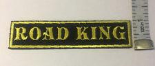 "Custom  Biker Vest Patch ROAD KING  4""X 1"" YELLOW"