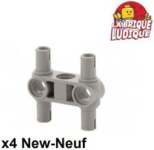 Lego technic - 4x connector perpendicular 3L 4 pins gris/l. b. gray 48989 NEUF