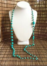 Vintage Faux Turquoise & Brass Links Long Necklace, Marked B CAMACHO