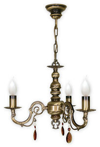 CHANDELIER 3 ARMS TRADITIONAL CEILING LIGHT - ANTIQUE BRASS FINISH - ANTARES
