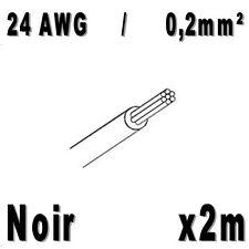 Fil de cablage 24AWG / 0,2mm² Noir 2m