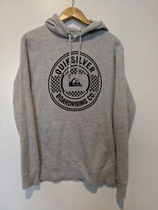 Quiksilver Mens Sweaters Grey US Size Med Hooded Drawstring Jumper Big Logo EUC