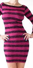 Magenta Long Sleeve Zigzag & Stripe Boat Neck Stretch Mini Dress