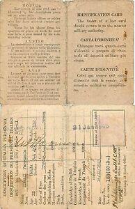 Carta d'identita (identification card) di un prigioniero di guerra - 1943