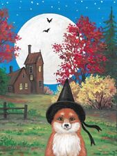 1.5x2 DOLLHOUSE MINIATURE PRINT OF PAINTING RYTA 1:12 SCALE FOX WITCH LANDSCAPE