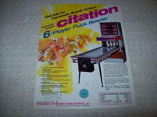Chicago Coin Citation Puck Bowler Shuffle Alley Game Sales Flyer Brochure 1973