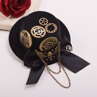 Vintage Steampunk Lady Skull Wing Gear Pattern Hair Clip Punk Gothic Headwear