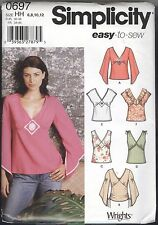Wrights Easy Top w Bell Cap Sleeve Misses Size 6 8 10 12 Simplicity 0697 - Uncut