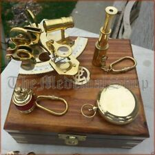 VINTAGE MARITIME COMPASS TELESCOPE SEXTANT W/WOODEN BOX NAUTICAL BRASS GIFT SET