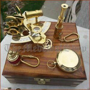 VINTAGE MARITIME COMPASS TELESCOPE SEXTANT W/WOODEN BOX NAUTICAL BRASS GIFT SET
