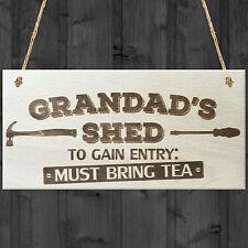 Grandads Shed Must Bring Tea Novelty Wooden Hanging Plaque Garage Sign Gift