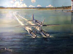 Original Acrylic Painting by P.Hill. Supermarine S5B. Schneider Trophy 1935.