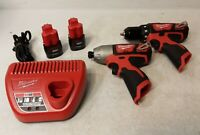 Milwaukee 2494-22 M12 Cordless Power Lithium-Ion Drill + Impact Combo Kit (L)
