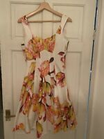 Karen Millen Fit And Flare White Floral Dress UK Size 8 Great Condition