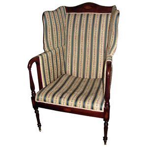 Antique American Mahogany Boston Federal Style Wingback Armchair Circa 1900