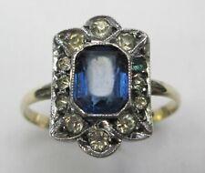 Antique Art Deco 9ct Gold & Silver Baguette Cut Clear & Blue Paste Ring Size N
