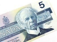 1986 Canada Five 5 Dollars GNW Prefix Canadian Uncirculated Banknote L671