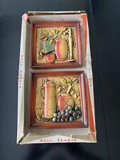Vintage Chalkware Fruit Foilage Grapes Miller Studio Wall Decor 1963