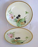 Wm Guerin Handpainted Set of 2 plates Limoges France Blackberries