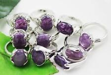 wholesale 10pc Thick  Silver mixed natural amethyst Gemstone rings