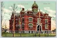 Marion Indiana~High School Building~Open Belfry Cupola~Houses In Back~1912 PC