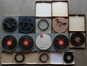 """Lot Of 9 Vintage 7"""" & 3 5"""" Reel To Reel Recording Tapes (4 BASF)"""