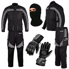 Motorbike All Weather Waterproof Suit Jacket + Trousers + Leather Gloves Gray