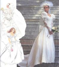 Vintage Dramatic Bridal Wedding Gown Train Sewing Pattern UNCUT Huge Sleeves Bow